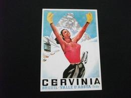 BREUIL CERVINIA RIPRODUZIONE DEL MANIFESTO DI MUSATI 1953 ED. FOTO ALPINA - Aosta