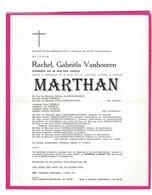 DOODSBRIEF VANHOOREN RACHEL ECHTGENOTE CORNELIS MIDDELKERKE OOSTENDE-RAVERSIJDE 1911 - 1971 - Obituary Notices