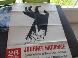 Affiche Illustrée AD Werner Originale Algérie 1954 Journée Nationale Soutien Aux Victimes Du Séisme D'Orléansville - Afiches