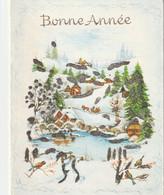 1050 - CARTE BONNE ANNEE. MAISONS SAPINS CHEVAL TRAINEAU PERSONNAGES MARE OISEAUX PAILLETTES 9 SUR11 CM . S 212/3 - Anno Nuovo