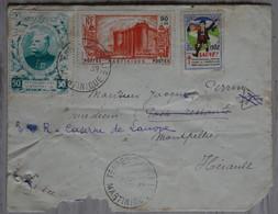 ¤5  MARTINIQUE  BELLE LETTRE  1939   BASSE POUR MONTPELLIER FRANCE+ VIGNETTES +AFFRANCH. INTERESSANT - Briefe U. Dokumente