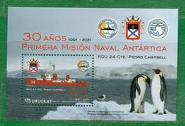 1754 URUGUAY 2021-30a. Misión Naval Antártica.TT: Barcos Escudos,Polos,Pingüinos,Gaviotas CUIDATE !!!!! 1 Hojita Block. - Uruguay