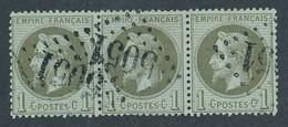 EB-332: FRANCE: Lot Avec Napoléon  N°25 Obl (bande De 3) - 1863-1870 Napoleone III Con Gli Allori