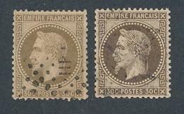 EB-337: FRANCE: Lot Avec Napoléon  N°30h Obl (2 Teintes) (fond Ligné) - 1863-1870 Napoleone III Con Gli Allori