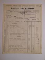 T533 / Facture FAIENCES PORCELAINES VERRERIES POTERIES GRES - Ets VAL & TURPIN - 218 Faubourg St-Martin Paris X° - Invoices