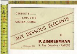 KL 1762 - CORSETS LINGERIE SOUTIEN CORVE - AU DESSOIS ELEGANTS - P ZIMMZEMANN AMIENS - Visiting Cards