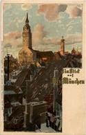 Ein Blick Auf Alt-München - Litho Künslter Zieher - Muenchen