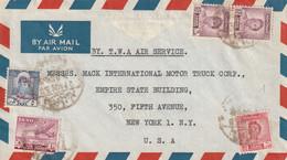 Iraq Affranchissement Composé Sur Lettre Par Avion TWA Air Service Baghdad 1950 Pour New York USA - Irak