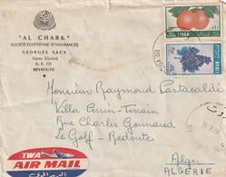 Liban Affranchissement Composé Sur Lettre Par Avion Beyrouth 28/2/1956 Pour Alger Algérie - Fruits Raisin - Líbano