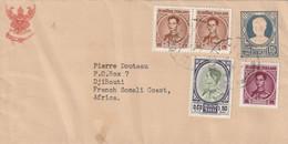 Thailande Lettre Entier Postal Complément Affranchissement Bangkok Pour Djibouti Côte Des Somalis Française Afrique - Tailandia
