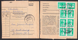 Prora /Rügen Paketkarte Abs. Von Soldat Mit DDR 10 Pf. Berlin Neptunbrunnen 1868(8) 24.8.78 Nach Quedlinburg - Briefe U. Dokumente