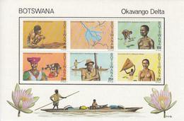 1978 Botswana Okavango Delta Fishing Agriculture TEXTURED PAPER Souvenir Sheet MNH - Botswana (1966-...)