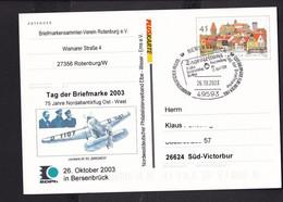 RK1.6 /  BRD Pluskarte Ganzsache 2003 Zudruck Bersenbrück Bremen , Junkers - Postcards - Used
