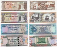 Banknote Guyana 10 20 100 And 1,000 Dollars Pick-23f 27 28 And 35 1989 / 2000 UNC (US$ 24.5) - Guyana