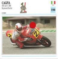Transports - Sports Moto - Carte Fiche Technique Moto - Cagiva 500 Cm3 C 588 - Raymond Roche - Course - Italie 1988 - Motorradsport