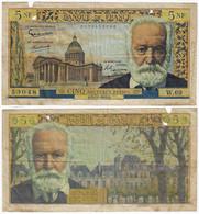 BanknoteFrança 5 New Francs 1961 Pick-141 Victor Hugo Finewith Multiple Stapler Holes And Larger Ones - 5 NF 1959-1965 ''Victor Hugo''
