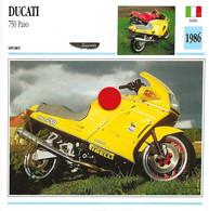 Transports - Sports Moto - Carte Fiche Technique Moto - Ducati 750 Paso - Sport - Italie 1986 - Motorradsport