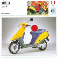 Transports - Sports Moto - Carte Fiche Technique Moto - Aprilia Amigo 50 - Ville Scooter - Italie 1991 - Motorradsport