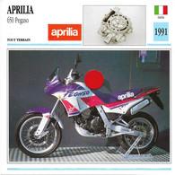 Transports - Sports Moto - Carte Fiche Technique Moto - Aprilia 650 Pegaso - Tout Terrain - Italie 1991 - Motorradsport