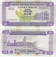 Banknote Macau 20 Patacas 1999 Pick-71 UNC (US$ 25) - Macau