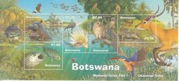 2000 Botswana Wetlands Fauna Hippo Owl Fish Kingfisher Birds Souvenir Sheet MNH - Botswana (1966-...)