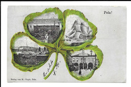 MULTI-VIEW POSTCARD OF POLA , 1901 . - Croatie
