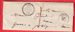 CAD TYPE 22 AUVE MARNE TAXE LOCALE 1 1854 CURSIVE 49 GIVRY EN ARGONNE EN ARRIVE - 1801-1848: Precursors XIX