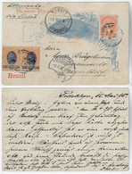 Brazil 1895 Postal Stationery Card Porto Alegre ToDüsseldorf Germany By Lisboa Portugal Additional Pair Stamp 20 Réis - Enteros Postales