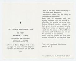 Doodsprentje Herman Cleeren - Essen 1943, † Nieuwmoer 1980 - Images Religieuses