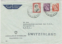 NZ - SWITZERLAND QEII 1955 Airmail Consulate Cover - Covers & Documents
