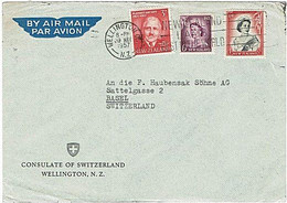 NZ - SWITZERLAND QEII & Plunket 1957 Airmail Consulate Cover - Covers & Documents