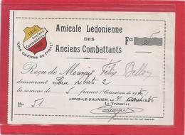 """RECU De Mr BELLON 5 Frs """" AMICALE LEDONIENNE DES ANCIENS COMBATTANTS """". ANNEE 1936 - Other"""