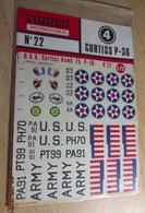 ABT21 Très Rare Décal Années 70 ABT : 1/72e SERIE AEROPHILE N° 22 / CURTISS P-36 US AIR FORCE 1940 Décos Pour 3 Avions - Decalcografie