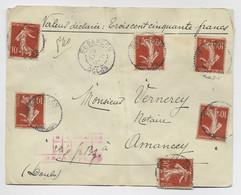 FRANCE SEMEUSE 10C MAIGRE N° 135X6  1 PETIT DEFAUT LETTRE CHARGE BESANCON DOUBS 10.7.1907 AFFR RARE - 1906-38 Sower - Cameo