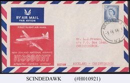 NEW ZEALAND 1958 VISCOUNT NEW ZEALAND NATIONAL AIRWAYS AUCKLAND-CHRISTCHURCH FFC - Covers & Documents