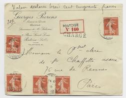 FRANCE SEMEUSE 10C N° 138X5  LETTRE CHARGE PONTOISE 1910 - 1906-38 Semeuse Con Cameo