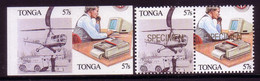 Tonga 1989 Error - Imperf Between Pair - Shows Computer - Telephone - Scarce - More Details Below - Informática