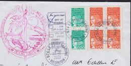 Y.T. 3087 Paire + 3089 Bloc De 4 Sur Enveloppe De  974 LE PORT MARINE Réunion  Le 24 1 2001 Pour JERUSALEM Israel - 1997-04 Marianne Van De 14de Juli