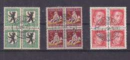 Suisse - Yvert 219 + 226 + 228 Oblitéré - Blocs De 4 Avec Belle Oblitération - Valeur 16 € +++ - Used Stamps