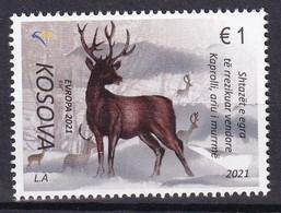 KOSOVO 2021,EUROPA CEPT,ENDANGERED WILDLIFE,FAUNA, DEER,DEFINITIVE FROM BIG SHEET,MNH - Non Classificati