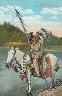 CARTE POSTALE DE 09/14 PHOTO COULEUR ORIGINALE ANCIENNE : INDIAN CHIEF A CHEVAL A BANFF , CANADIAN ROCKIES  ALBERTA - Banff