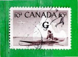 (Us.2) CANADA ° - 1955 - Chasseur Esquimau En Kayak. Yvert. 278. G. Surchaegé.Usato. Come Scansione. - Gebraucht