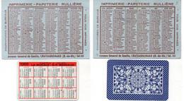 """Calendrier Del' Imprimerie Rullière - Chateaurenard (1955) +Carte à Jouer """"La Ducale"""" -     .(121995) - Petit Format : 1941-60"""