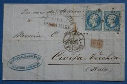 ¤6 FRANCE  BELLE  LETTRE  1865 ETOILE DE PARIS SUR PAIRE  POUR CIVITA VECCIA  ITALIE  +  +AFFRANCH. INTERESSANT - 1862 Napoléon III.
