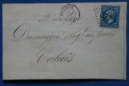 ¤6 FRANCE  BELLE  LETTRE DEVANT  1865 BOUCHAIN  POUR CALAIS +  +AFFRANCH. INTERESSANT - 1862 Napoléon III.