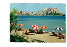 Cpm - 20 - CALVI - Corse - La Plage Et La Citadelle - N°744 CAP - 1967 - Parasol Publicité COCA-COLA FANTA MEUSE - Calvi