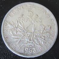 France - Monnaie 5 Francs Semeuse 1963 En Argent - J. 5 Francs