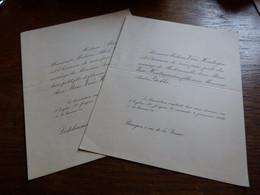 Double Faire Part Mariage Familles Van Houtryve Gobbe 1930 Bruges Lodelinsart - Wedding