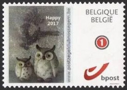 DUOSTAMP** / MY STAMP** - Happy 2017 – Hiboux / Uilen / Eulen / Owls - Cercle Philatélique / PZC / PC / PK - Nossegem - Personalisierte Briefmarken