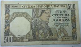 Billete Serbia. 1941. 500 Dinara. MBC. II Guerra Mundial. - Serbia